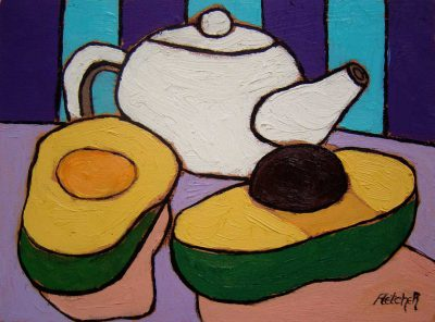 Teapot and sliced avocado