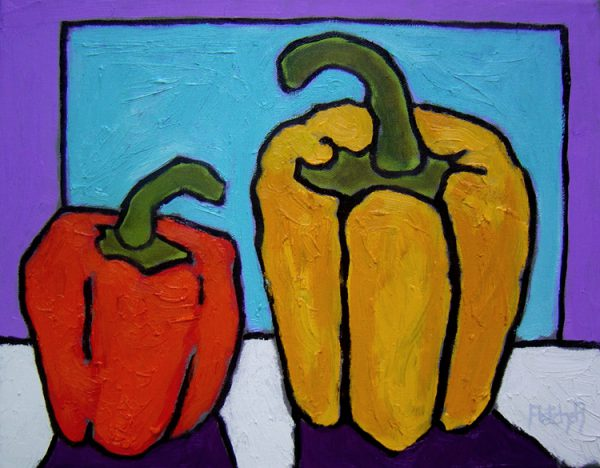 Peppers. Oil on canvas, 11 x 14 inches © Stewart Fletcher
