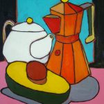 Tea, Coffee and Avocado. Oil on canvas, 11 x 14 inches © Stewart Fletcher