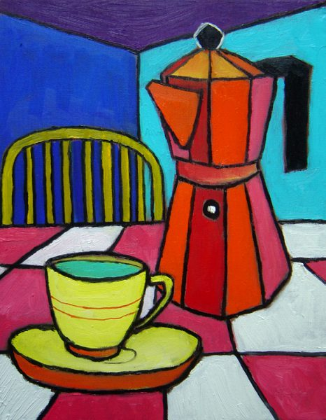 Espresso maker with yellow cup. Oil on canvas, 11 x 14 inches