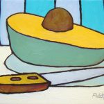 Avocado with Knife. oil on canvas, 8 x 10 inches © Stewart Fletcher