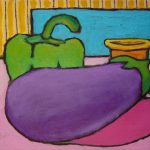 Eggplant, Green Pepper and Tea Cup. oil on canvas, 8 x 10 inches © Stewart Fletcher
