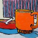 Coffee with Molinari. oil on masonite, 9 x 12 inches © Stewart Fletcher