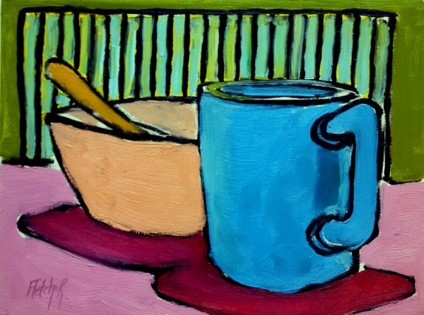 Coffee and bowl of cereal. oil on masonite, 9 x 12 inches © Stewart Fletcher