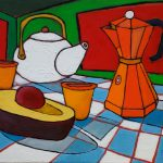 Tea, Espresso, Avocado. Oil on canvas, 14 x 18 inches © Stewart Fletcher