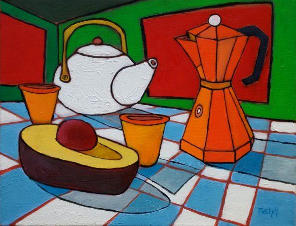 Tea, Espresso, Avocado. Oil on canvas, 14 x 18 inches © Stewart Fletcher