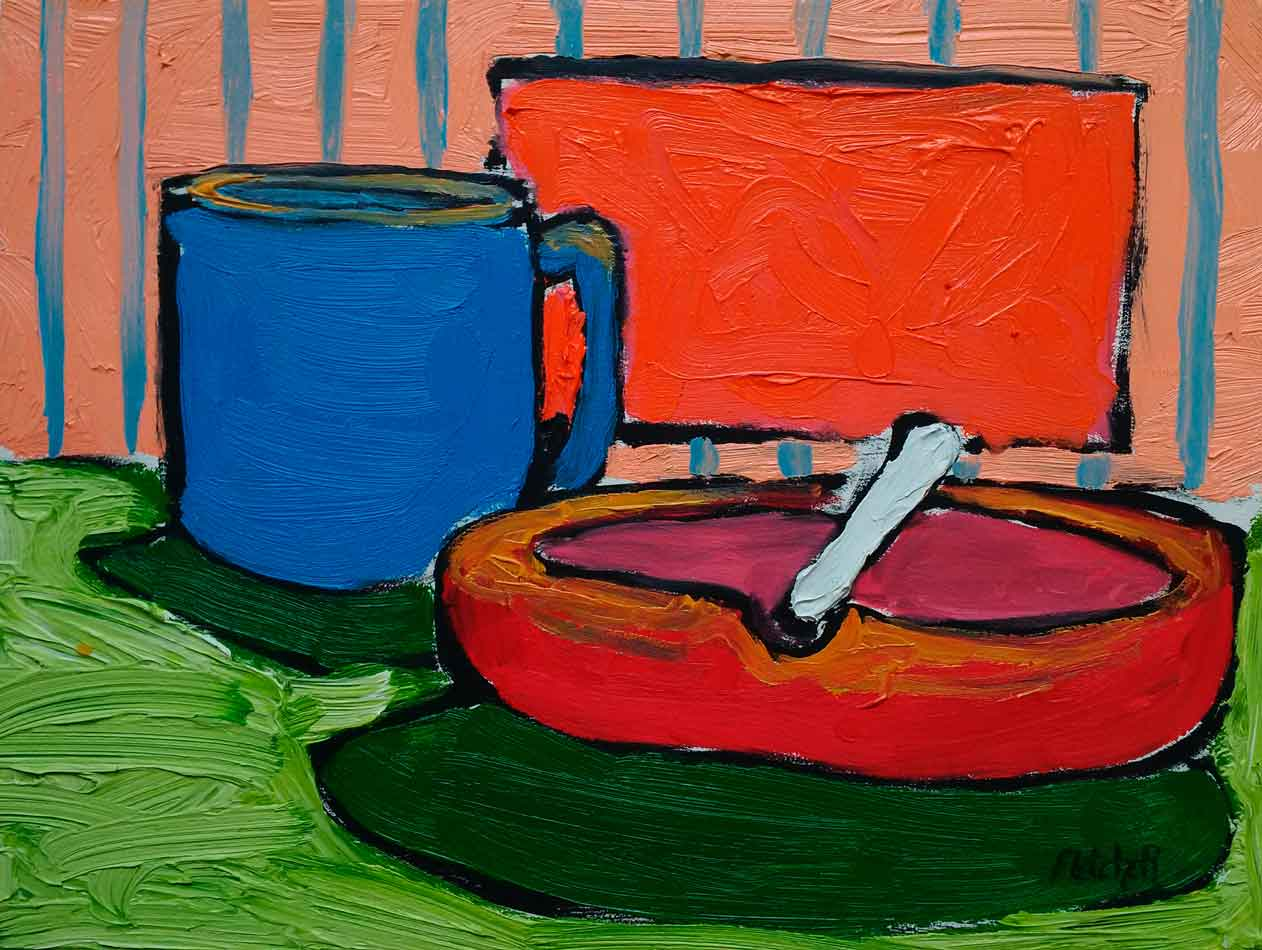 Coffee with Dude oil painting