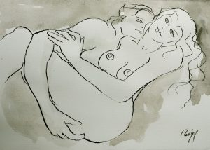 Lovers in pen and ink draawing