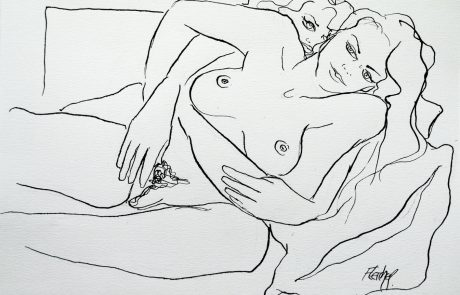 Lesbian lovers ink drawing