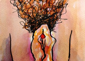Vulva drawing in ink